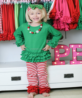Baby girls christmas stripe clothes and pants for baby girls wholesale christmas clothing sets