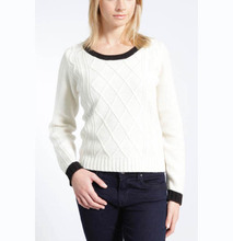WOMEN'S 100% LABSWOOL KNITTED CABLE SWEATER