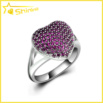 wholesale European fashion ring with fake ruby micro paved women finger ring