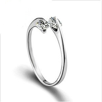 100% Sterling Silver Jewelry Lovely Female Models Ring Double Finger Silver Ring Top Quality! Free Shipping
