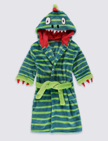 Boys/Babys Dinosaur Embroidery Hooded Dressing Gown