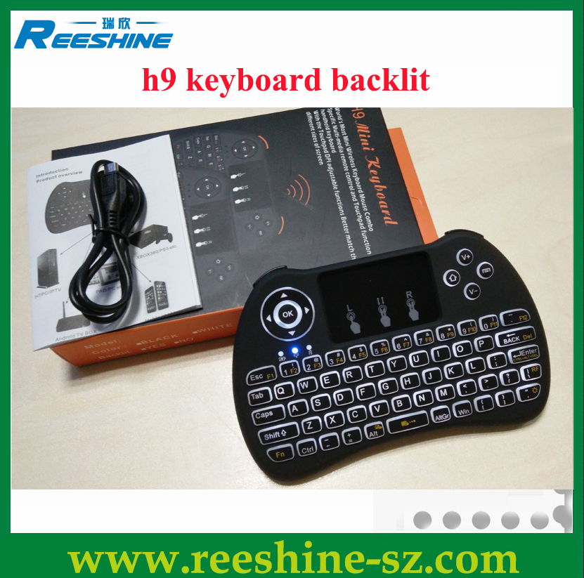 2.4g mini wireless backlit keyboard h9 Touchpad Handheld for Andriod