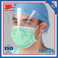 Blue 3Ply Earloop face mask with plastic shield