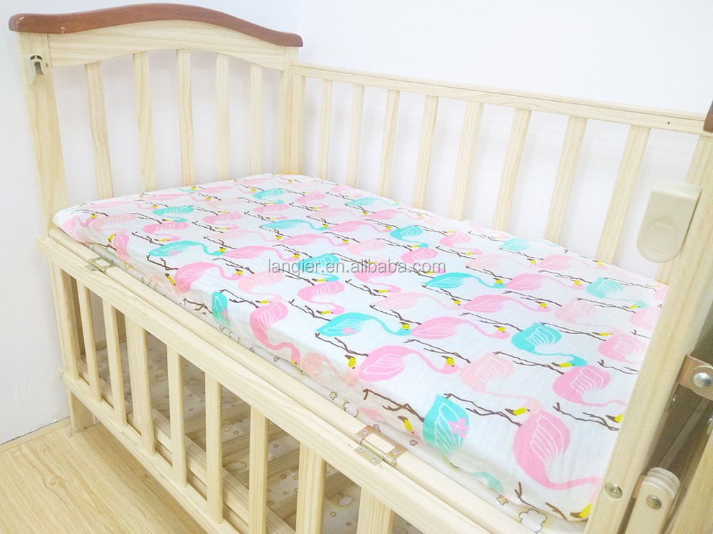Wholesale muslin breathable fitted crib sheet for baby