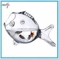 high quality fish shaped latest design glass artificial fish stock tank