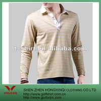 100%cotton brown stripe long Sleeves Polo Shirt
