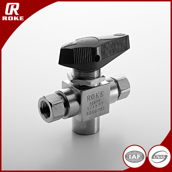 "Jiangsu Roke Stainless Steel 316 1/2"" NPT Threaded Forged 3 Way Trunnion Ball Valve"