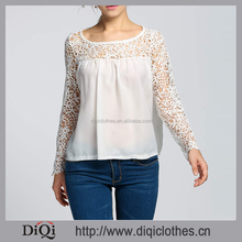 New Fashion Charming Elegant Design White O Neck Long Sleeve Floral Hollow Lace Patchwork Solid Chiffon Blouses