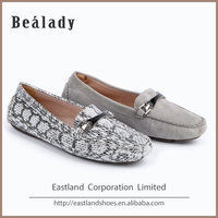 Wholesale elegant moccasin loafers paragon flat ladies shoes with galze trim