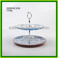 Glass 2 Tier fancy silver cookie serving Trays