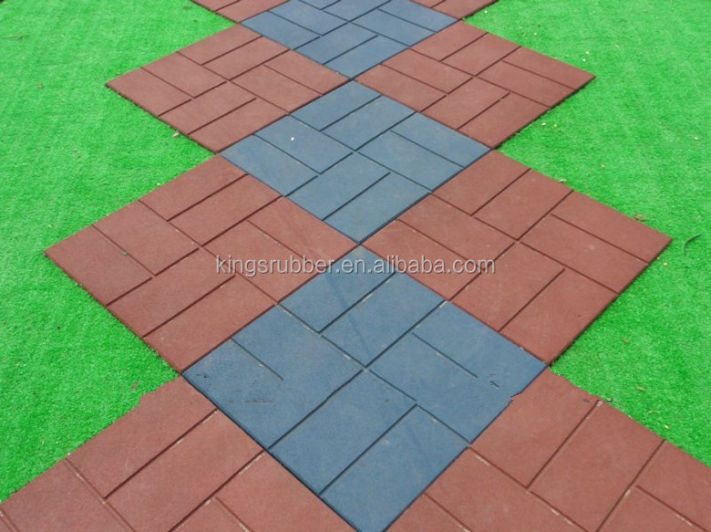 Rubber outdoor floor tiles