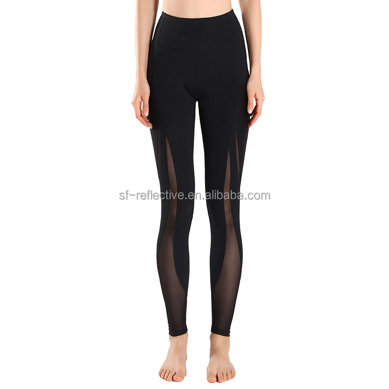 black color compression running pants polyester spandex leggings women yoga fitness wear with pockets