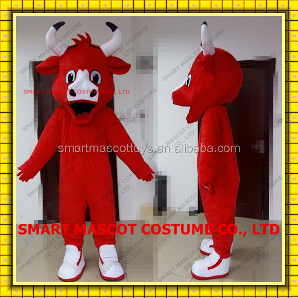 hot selling bull mascot costume in red good quality adult benny the bull mascot costume