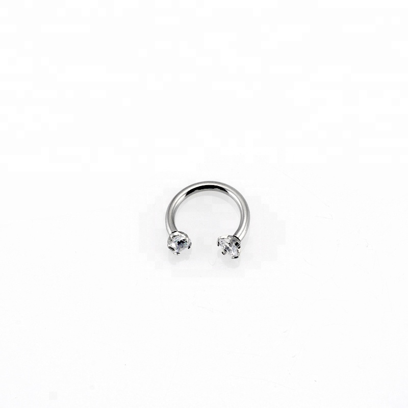New arrival prong set crystal circular horseshoe barbell ring