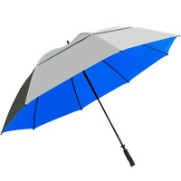 "68"" UV Protection Vented blue silver coated golf umbrella"