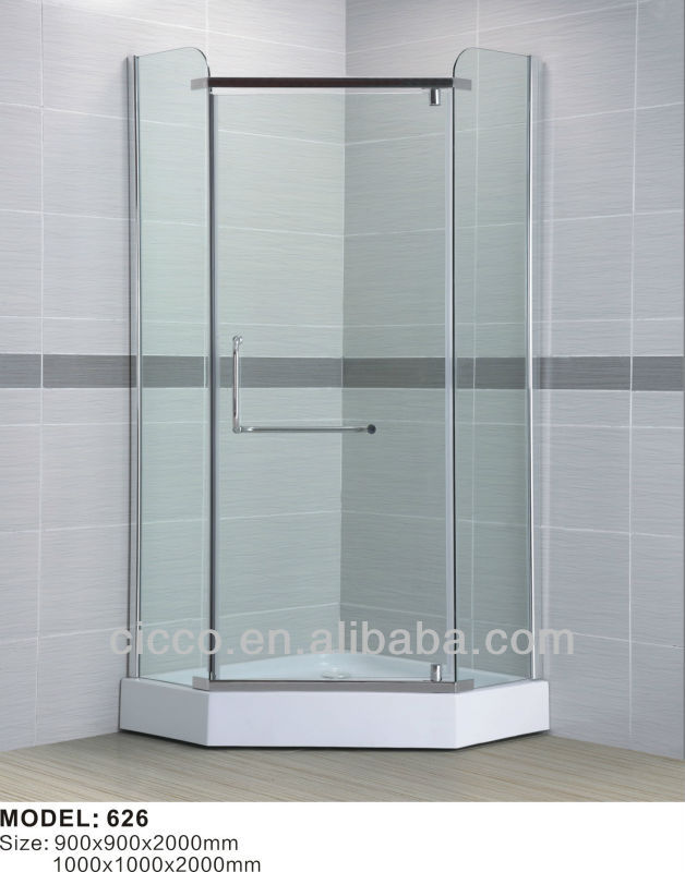 Hot sale transparent tempered glass 6mm shower stall
