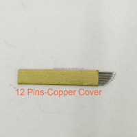 12 Pins Copper Cover Microblading Permanent Make up Manual Tattoo Curved Blades Needle