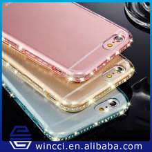 Logo printing clear diamond bumper cover transparent crystal case for iphone 6 6s 6 plus
