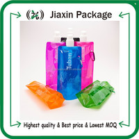 16oz reusable plastic foldable water pouch with spout packaging bags