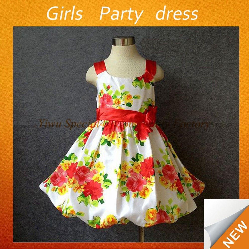 Children beautiful party wear ball gown baby birthday clothing dresses for girls of 7 years old SPSY-750