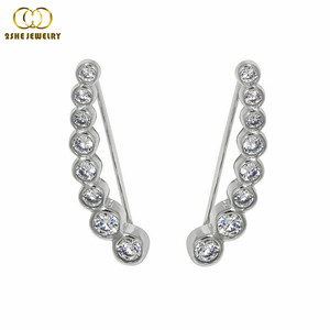 Wholesale cz stone rhodium pated silver ear cuff