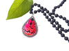 handmade bohemian silver embroidery pendant black lava stone beaded necklace ethnic jewelry