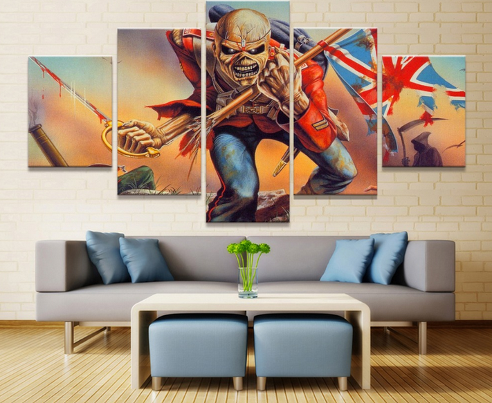 5 Piece Print Poster Iron Maiden Band Paintings on Canvas Wall <strong>Art</strong> for Home Decorations Wall Decor Unique Gift Wall Picture