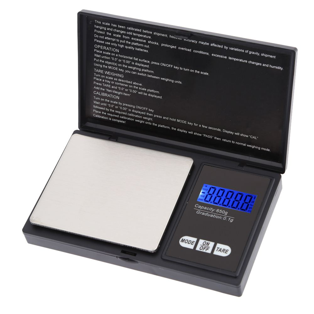 High Accuracy Mini Portable Electronic Digital Pocket Scale Jewelry 650g/0.1g Blue LCD Display Scales g/gn/oz/ozt/ct/t/dwt