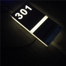 3D led lighting apatment/ hotel/house room door number sign