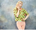 Fashion sweet women strawberry printed blouse from clothing factory China