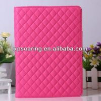 Fancy hot pink woolen leather case for ipad air, quilt leather case for ipad 5