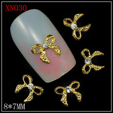 Gold butterful with rhinestone natural nail decorations for nail art XN030-XN035