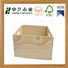 Wholesale handmade unfinished natural totally pine wooden paper box wooden toy box without top