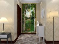 wholesale Eco-friendy 3d mural the door open for forest background living murals wallpaper door sticker home decoration