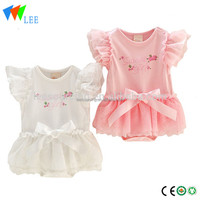 Cute boutique lace ruffle sleeve kids infant romper skirt sets baby girl clothes outfits