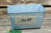 Grey garden decorative rectangular shabby chic antique french style rustic small zinc trough flower pot/flower pot/metal pot