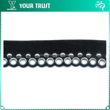 Grommet Eyelet Black Velvet Fabric Beaded Trim For Wedding Dress