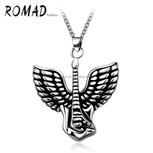 Steel Chain Punk Retro Flying Wings Pendant Necklace 316L Stainless Steel Necklace