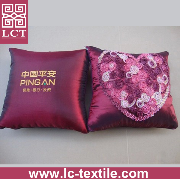 supply high quality grade satin fabric burgundy color flower decorative pillow with custom embroidery on back(LCTP0132)