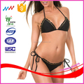 Cute Falbala Black Bikini Swimsuit with Gold Rivet