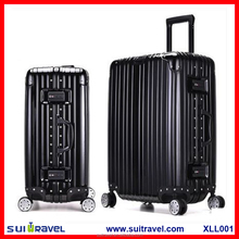 China Luggage Factory Classic design aluminum frame pc abs luggage trolley