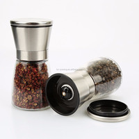Amazon supply top quality Salt and Pepper Shakers with Matching Stand Brushed Stainless Steel Salt and Pepper set Mill Pair