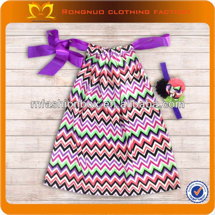 Wholesale Children's Boutique Clothing With Headband Set Baby Girl Flower Dress Chevron Satin Baby Dress