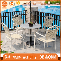 4 PC Outdoor/Indoor Rattan Garden Furniture Set White Wicker Outdoor Patio Furniture Sofa Set