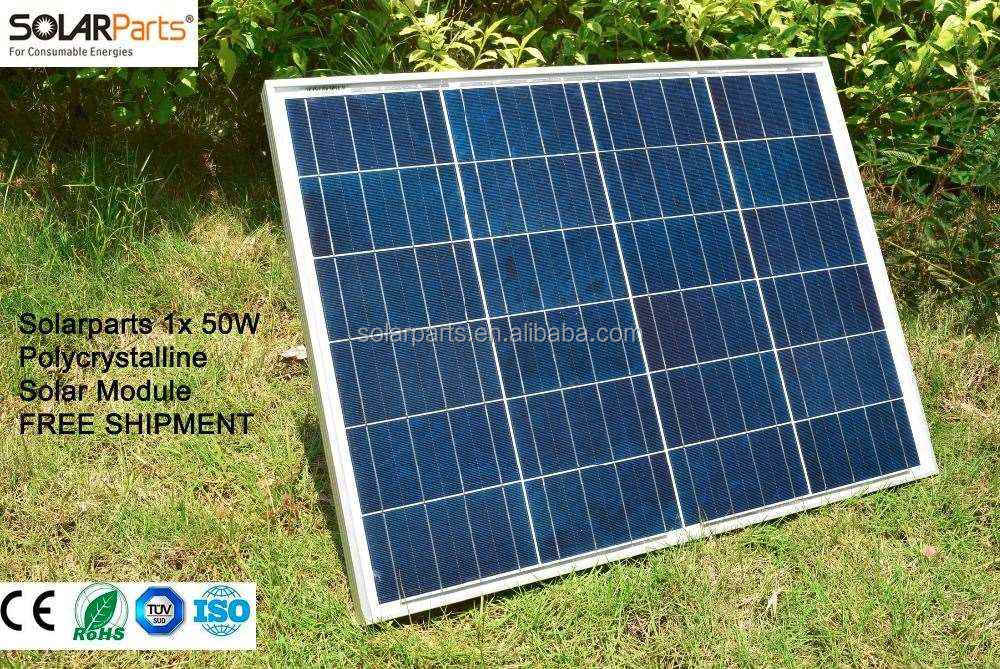 Solarparts 1x 50W Polycrystalline Solar Module by Poly solar cell factory cheap selling 12V solar panel for RV/Marine/Boat use