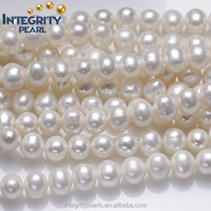 9-10mm AA large size near round make large hole beads wholesale freshwater natural pearl price