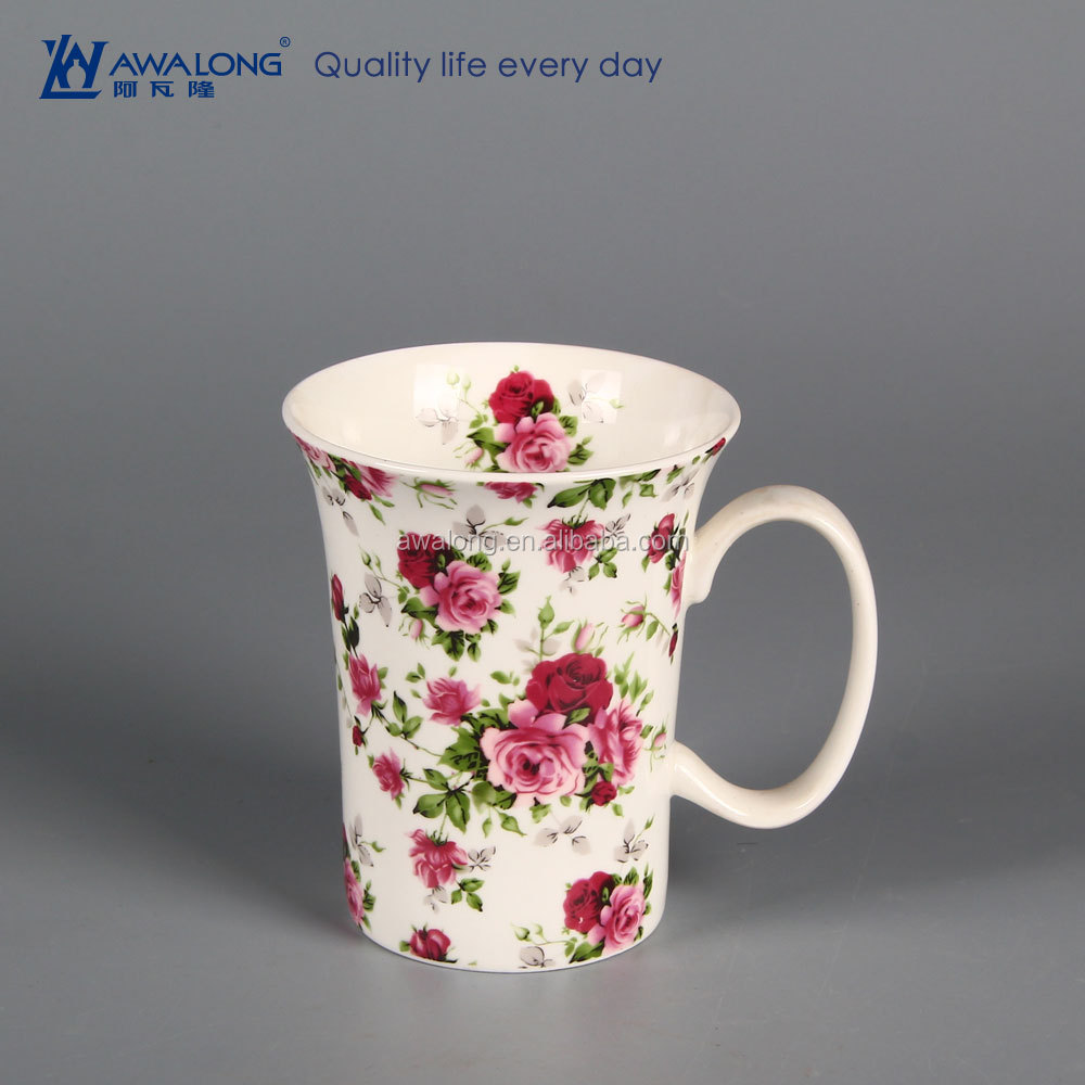 bone china porcelain coffee mugs beautiful red rose coffee mug