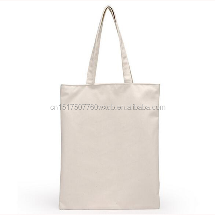 Standard size canvas bag soft white foldable canvas zip pocket tote bag