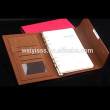2014 wholesale custom pu leather ring binder diary agenda