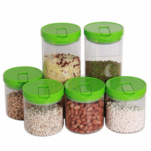 Promotional Airtight Heat Resisting Glass Canister Set With colorful Plastic Lid